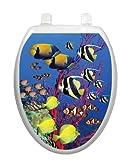 Coral Reef Toilet Tattoo TT-1016-O Elongated Beach Fish Theme Cover Bathroom