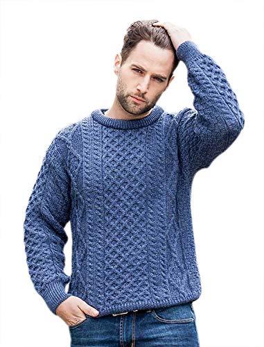 (100% Pure New Wool Irish Springweight Aran Sweater, Denim, Small)