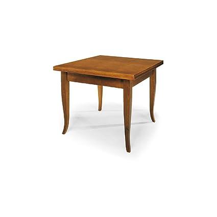 InHouse srls Tavolo allungabile a libro, arte povera, in legno massello e  mdf con rifinitura in noce lucido - Mis. 80 x 80 x 78