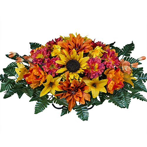 Orange Zinnia Flower (Sunflower with Orange Dahlias Artificial Saddle Arrangement (SD1794))
