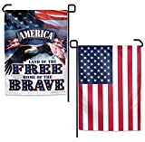 WinCraft America Land of the Free Garden Flag 2 Sided TWO Designs Patriotic Bald Eagle US Flag