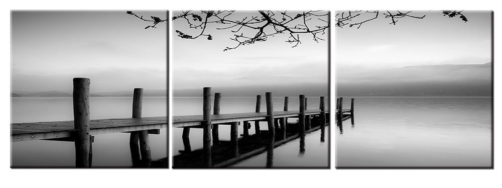Black And White Wall Art Canvas Print Decor Grey Nature Landscape Picture Vintage Wooden Bridge Lake Painting 3 Piece Modern Artwork For Living Room Bedroom Bathroom Home Office Decoration by Mofutinpo
