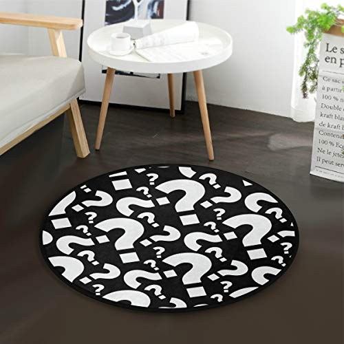 Funny Question Mark Pattern Round Area Rug, Non-Slip