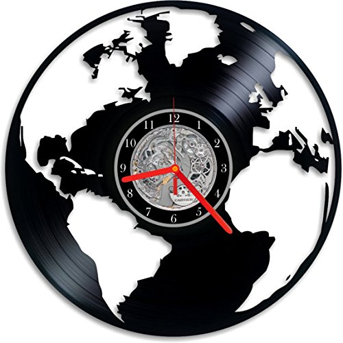 Amazon world map vinyl clock wall clock world map clock world map vinyl clock wall clock world map clock vinyl clock globe gumiabroncs Choice Image