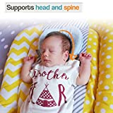E-A Baby Pillow Preventing Flat Head Syndrome, Head Shaping for Infant, Peacefuly Sleep for Newborn, Cute Breathable and Soft Cover, Blue or Pink