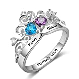 Personalized Princess Crown Cheap Engagement Ring 2 Simulated Birthstone Promise Name Cubic Zirconia Ring (9)