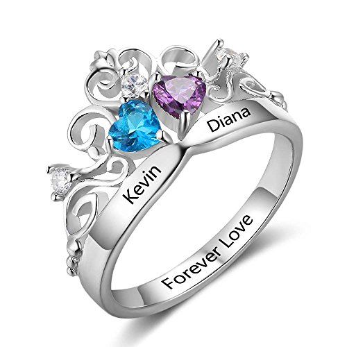 Personalized Princess Crown Cheap Engagement Ring 2 Simulated Birthstone Promise Name Cubic Zirconia Ring (Couples Birthstone Ring)