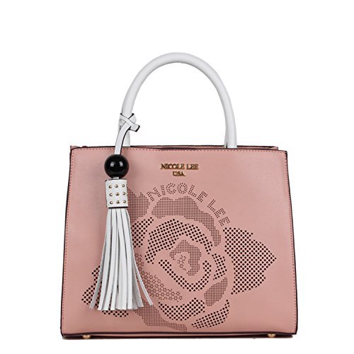 Structured Square Tote Featuring Laser Cut Flower Design [Pink]