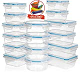 Shazo (16 Pack) Food Storage Containers with Lids - Plastic Food Containers with Lids - Airtight Leak Proof Easy Snap Lock Lunch Box, BPA-Free Plastic Storage Container Set, BONUS Measuring Spoons