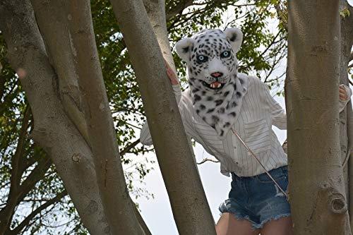DELANSHI Mode Innovative Cartoon Bewegen Mund Realistische Tier Schnee Leopard Maske Tier Karneval Kostüm Masken ( Farbe   Weiß , Größe   2525 ) Weiß 2525