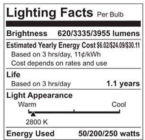 Ge 50/200/250 Soft White 3-Way Standard Screw Bulbs - 12 Pack