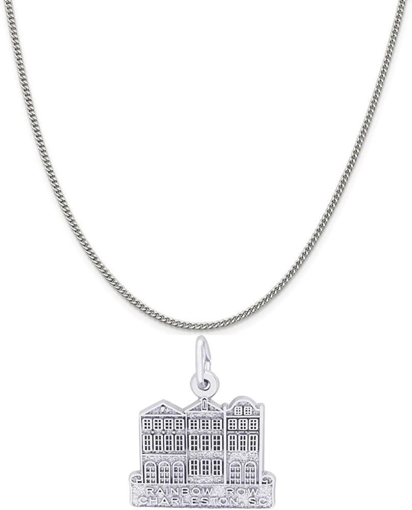 Box or Curb Chain Necklace 18 or 20 inch Rope Rembrandt Charms Sterling Silver Rainbow Row Charm on a 16