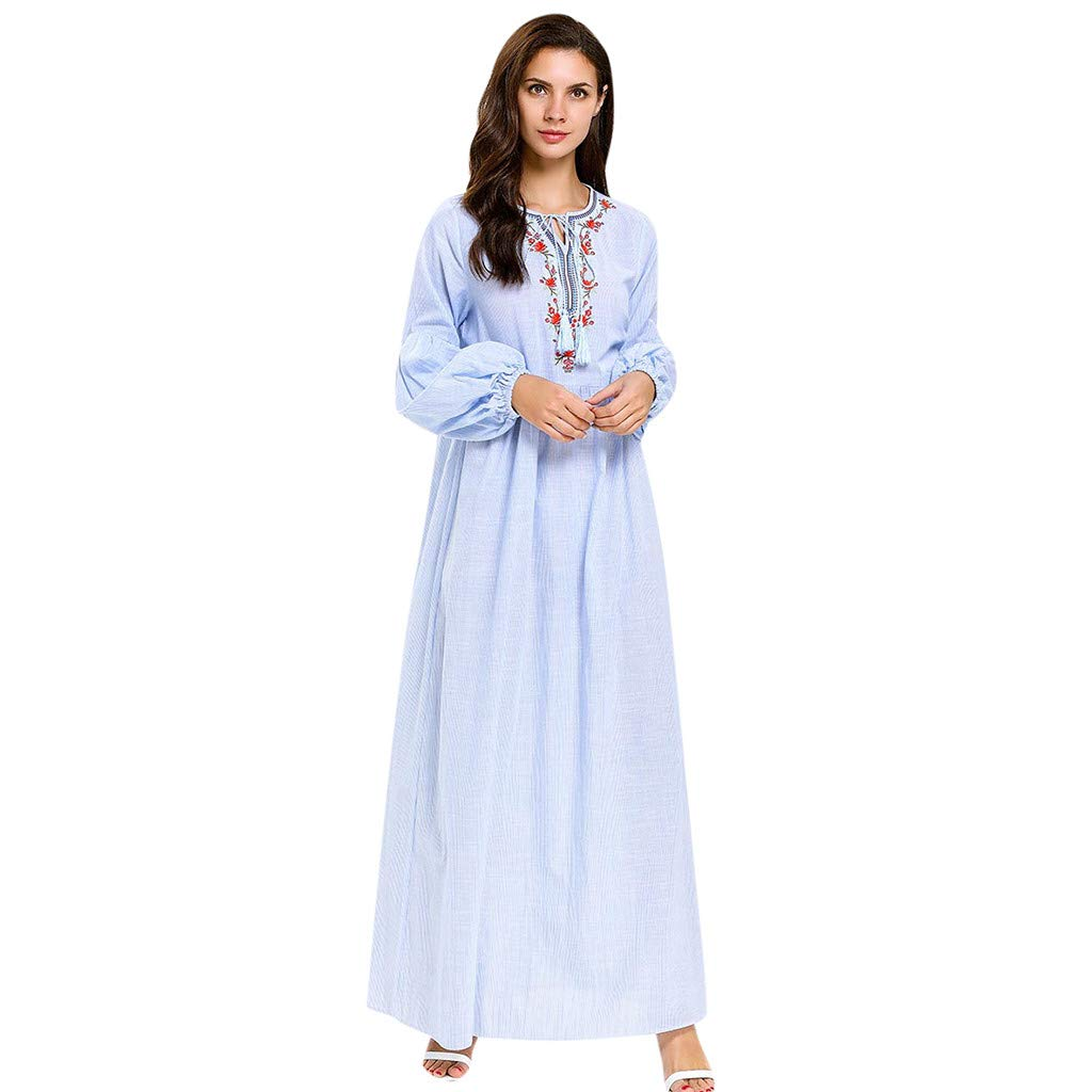 Kinglly Islamic Muslim Women Loose Long Maxi Dress Abaya Embroidery Casual Cocktail Islamic Embroidered Robe by Kinglly Dress