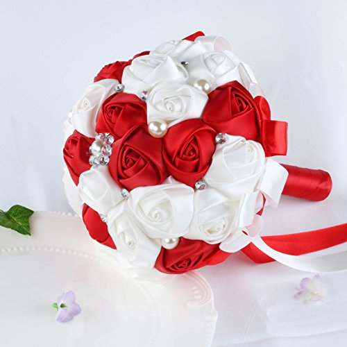 VLoveLife White & Red Satin Rose Wedding Bouquets Bridal Bridesmaid Bouquet Artificial Satin Rose Flowers Handmade Posy Rhinestone Pearl Decor