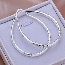 "AliMant(TM) wholesale sterling solid silver fashion twinkle ""U"" hoop Earrings XLSE293 HC"