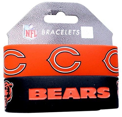 Chicago Bears Rubber Bracelet - NFL Silicone Rubber Bulky Bandz Bracelet Set, 2-Pack-Old Logo (CHICAGO BEARS)