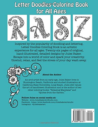 Amazon Letter Doodles Alphabet Coloring Book For Adults And All Ages 9780997267617 Jules Baker Books