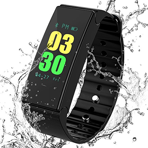 MOCRUX Fitness Tracker Smart Bracelet, Sport Activity Tracker Smart Band, IP67 Waterproof Smart Wristband Sleep Monitor Calorie Counter Pedometer Color Screen Call/SMS Reminder for Android/iOS(Black)