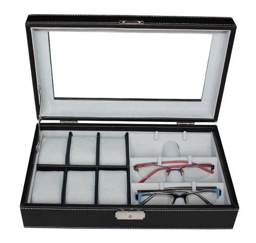 Beau Amazon.com: TimelyBuys 6 Piece Watch U0026 3 Piece Eyeglasses Leatherette Case  Organizer (Black): Watches