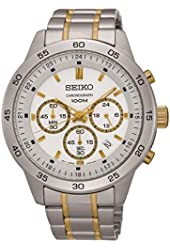 Seiko #SKS523 Men's Two Tone Stainless Steel White Dial Casual Chronograph Sports Watch