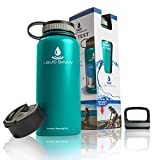 stainless hot water bottle - Liquid Savvy 32 oz Insulated Water Bottle with 3 lids - Stainless Steel, Wide Mouth Double Walled Vacuum Insulated Bottle for Hot and Cold Beverages (Teal)