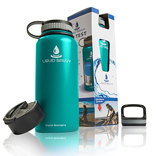 Liquid Savvy 32 oz Insulated Water Bottle with 3 lids - Stainless Steel, Wide Mouth Double Walled Vacuum Insulated Bottle for Hot and Cold Beverages (Teal)