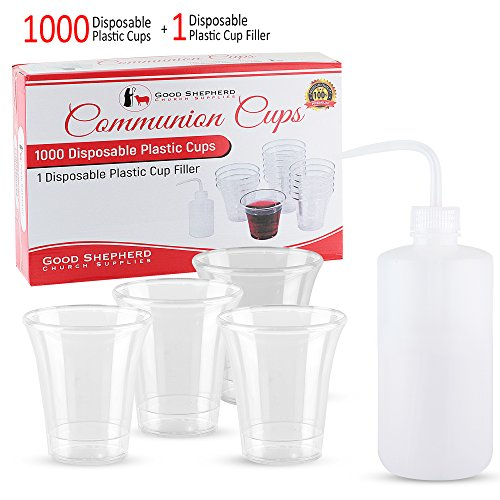 Good Shepherd Communion Cups - Box of 1000 + 1 Communion Cup Filler, Hard to Crush Premium Quality Plastic Communion Cups, FDA Approved Disposable Plastic, Pair with Any Standard Communion Trays for $<!--$24.98-->