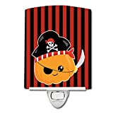 Caroline's Treasures Halloween Pumpkin Ceramic Night Light, Pirate, Red, 6″ x 4″ Review