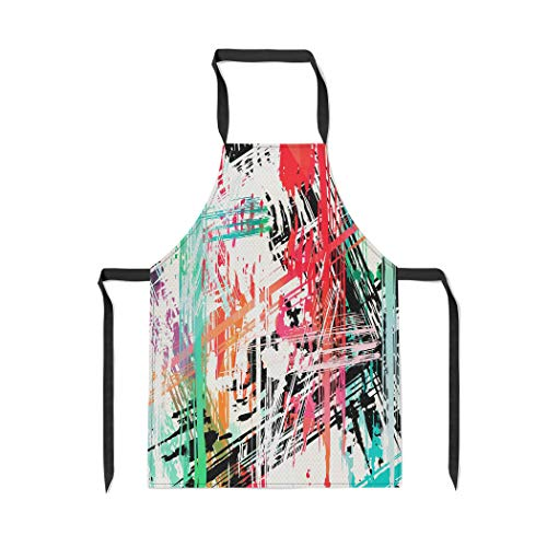 (Pinbeam Apron Orange Urban Graffiti Stains on Black Brown Abstract with Adjustable Neck for Cooking Baking Garden)