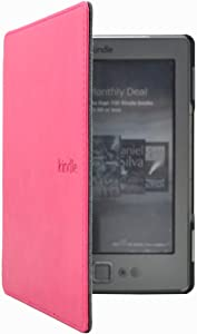 Huasiru PU Leather Case Cover for Amazon Kindle 4 & Kindle 5 Generation (Button Version) Only, Rosy