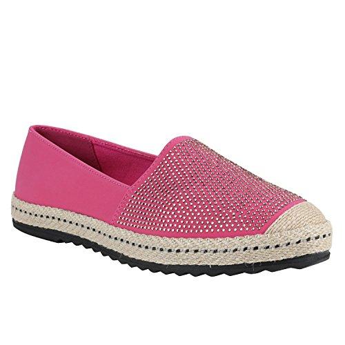 Stiefelparadies Damen Espadrilles Spitze Bast Slipper Blumen Metallic Beach Schuhe Snake Sommerschuhe Leder-Optik Strass Flandell Pink Strass