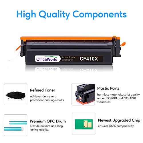 OfficeWorld Compatible Toner Cartridge Replacement for HP 410X CF410X CF411X CF412X CF413X 410A CF410A M477FDW for Laserjet Pro MFP M477fdw M477fnw M477fdn M452dw M452nw M452dn M377dw, 2 Pack Black