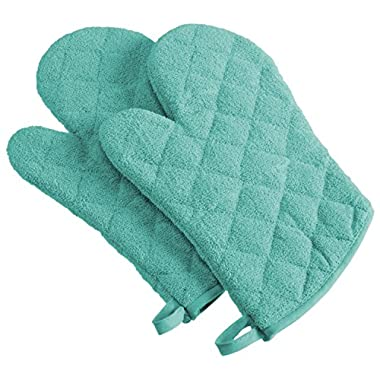DII 100% Cotton, Machine Washable, Heat Resistant, Everyday Kitchen Basic, Terry Oven Mitt, 7 x 13 , Set of 2, Aqua