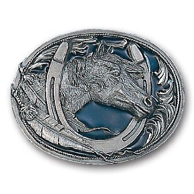 Pewter Belt Buckle - Horse Head in Horseshoe - Pewter Belt (Horseshoe Horse Head)