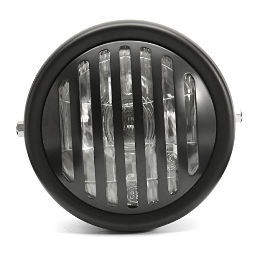 orcycle Headlight Retro Grill Guard Metal For Harley Chopper Cafe Racer - Black (Grill Guard Installation)