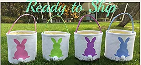 MONOBLANKS Easter Bunny Basket Bags for Kids Canvas Cotton Carrying Gift and Eggs Hunt Bag,Fluffy Tails Printed Rabbit Canvas Toys Bucket Tote La Playa