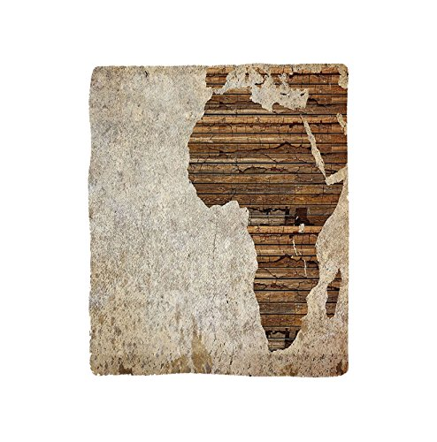VROSELV Custom Blanket African Geography Theme Grunge Vintage Wooden Plank Africa Map Digital Print Soft Fleece Throw Blanket Tan Umber and (Plank Park Lift)