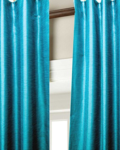 Heavy faux silk dupion room darkening curtain/panel/drape (Blue, 52