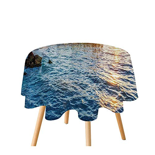 TecBillion United States Polyester Round Tablecloth,Pier at Beach in Key West Florida USA Tropical Summer Paradise for Home Restaurant,35.4