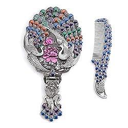 Silver Rhinestones Crystal Metal Folding Handheld Cosmetic Mirror