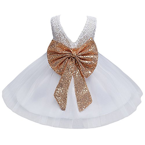 JiaDuo Baby Girl Lace Mesh Tutu Dress Sequin Bow Toddler Princess Gown White 100