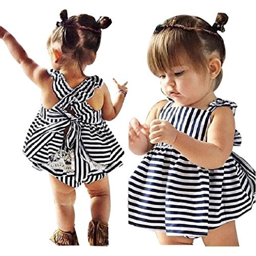 Gotd Baby Girls Sunsuit Outfit Stripe Backless Dress + Brief Infant Clothes (18M, Navy) (Asian Baby Girl)