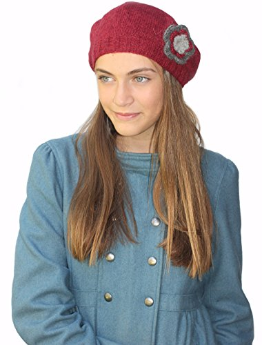 Knitted by Hand Pure Alpaca Beret Hat - Raspberry (Made to Order)