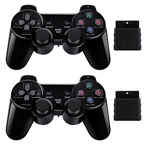 2 Pack Wireless Controller 2.4G Compatible with Sony Playstation 2 PS2 (Jet Black) (Ps2 Sony Controller)