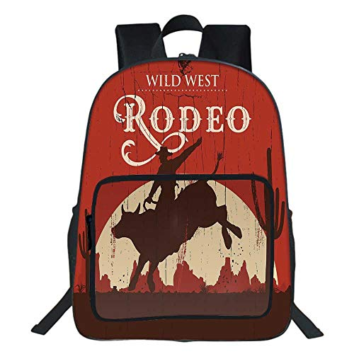 Vintage School Backpack,Rodeo Cowboy Riding Bull Wooden Old Sign Western Wilderness at Sunset Image For Teens Girls Boys,11.8