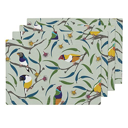 Rainbow Finch 4pc Linen Cotton Canvas Cloth Placemat Set - Finch Birds Finch Birds Australia Endangered Species Animals Rainbow Gumnut Tree Gouldian by Colour Angel by Kv (Set of 4) 13 x 19in