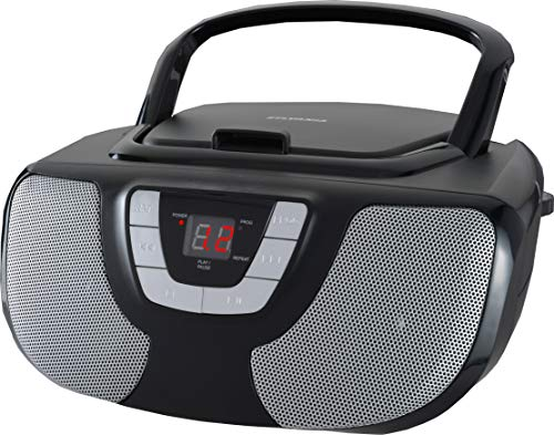 Sylvania SRCD243 Portable CD Player with AM/FM Radio, Boombox (Black) (Portable Dvd Player Kid Proof)