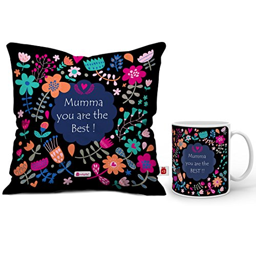 Indigifts Mumma You are Best Quote Artistic Floral Doodle Multi Mug 330 ml and Cushion Cover 12″x12″ with Filler – Gift for Mother-Mom-Mummy-Birthday Price & Reviews
