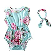 Hot Pink Floral Flower Pom Rompers for Baby Girls with Headband 0-3T (L(13-24 Months), Green)