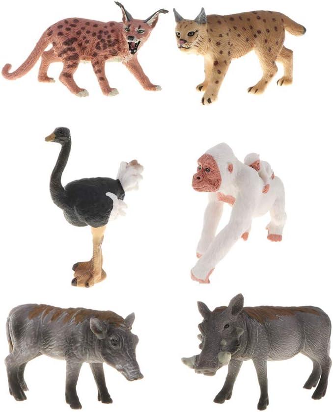 Ostrich//Felis Serval//Orangutan Bianco//Lince B Blesiya Animali Selvatici Artificiali Figurine Animali della Foresta Toy Miniatura Figurine da Collezione Felis Leptailurus Serval